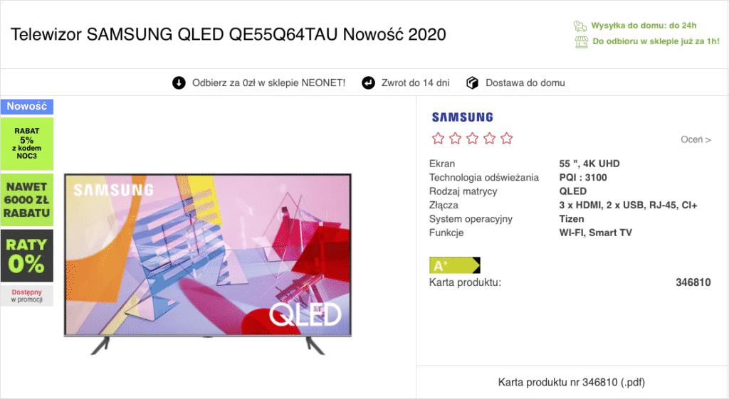 Oferta sklepu online na zakup telewizora przez internet