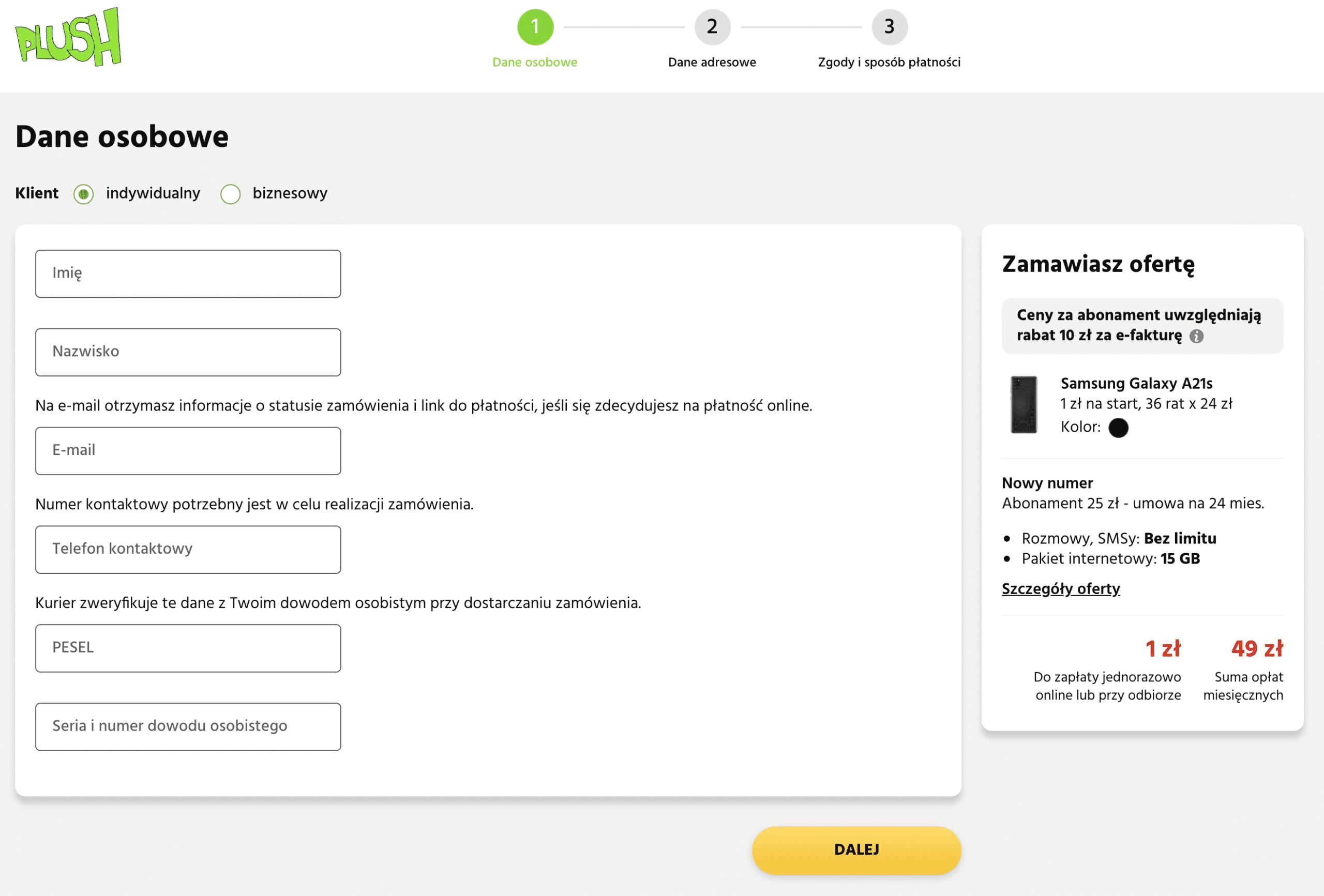 Formularz wniosku zakupu telefony na abonament przez internet
